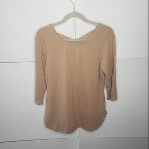 Hot Kiss 3/4 Sleeve Tan Top Criss Cross Back XL